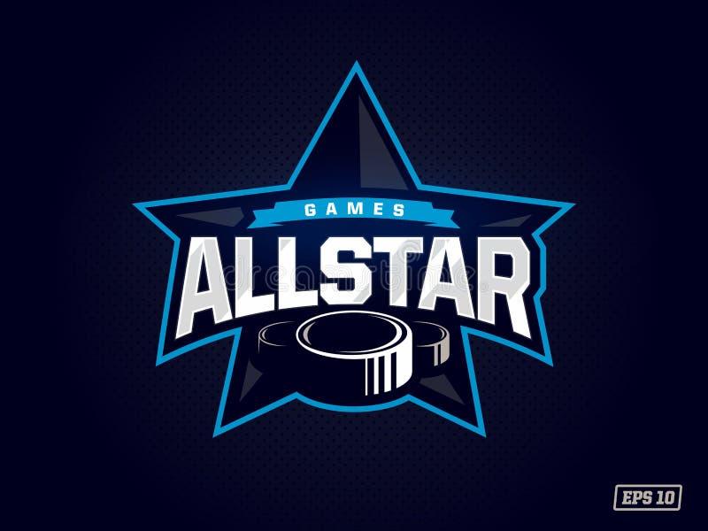 Modernt yrkesmässigt emblem all stjärna för hockeylek i blått tema vektor illustrationer