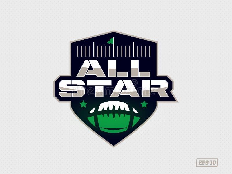 Modernt yrkesmässigt emblem all stjärna för lek för amerikansk fotboll i grönt tema stock illustrationer
