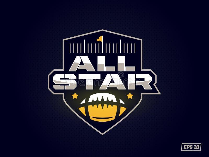 Modernt yrkesmässigt emblem all stjärna för lek för amerikansk fotboll i gult tema stock illustrationer