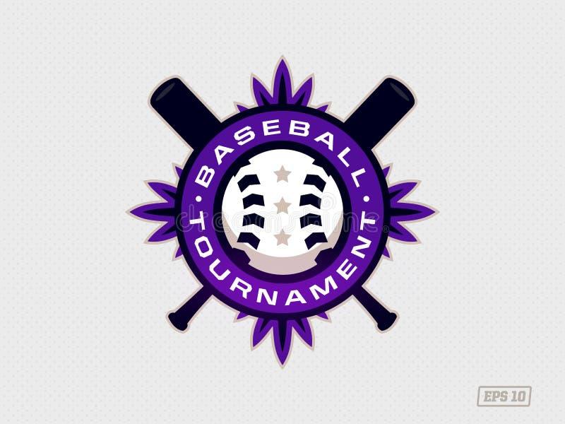 Modernt yrkesmässigt emblem för baseballturnering i purpurfärgat tema royaltyfri illustrationer