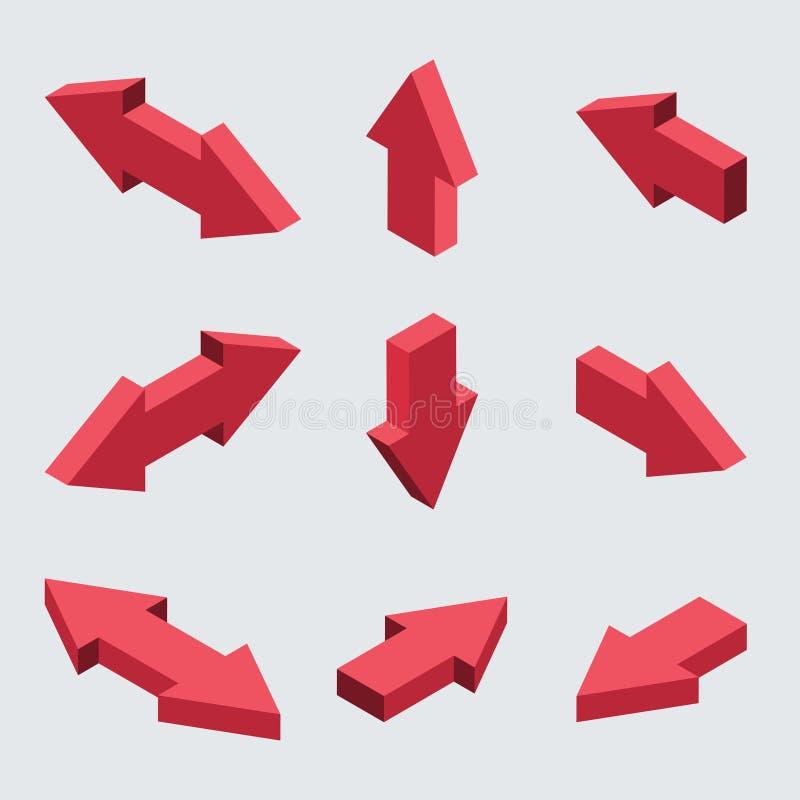 Moders de vecteur réglés des flèches isométriques illustration libre de droits
