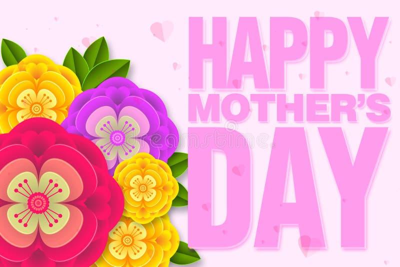Moders design för orientering för dag med färgrika blomningblommor r vektor illustrationer