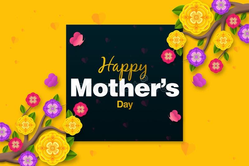 Moders design f?r orientering f?r dag med f?rgrika blomningblommor r royaltyfri illustrationer