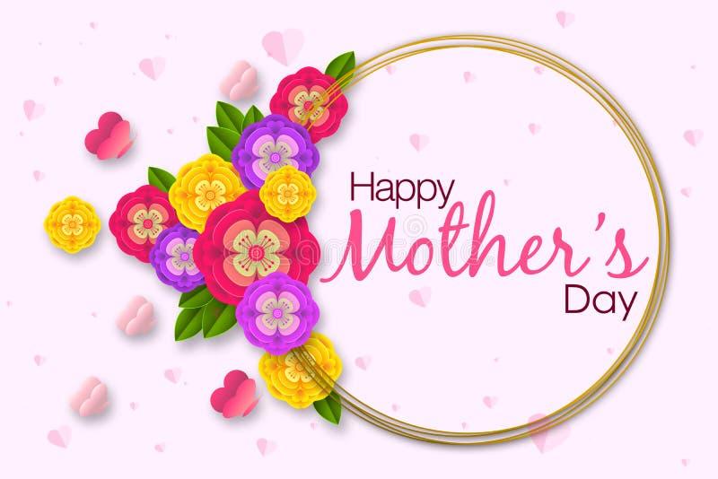 Moders design f?r orientering f?r dag med f?rgrika blomningblommor r vektor illustrationer