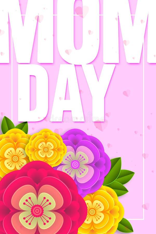Moders design f?r orientering f?r dag med f?rgrika blomningblommor r stock illustrationer