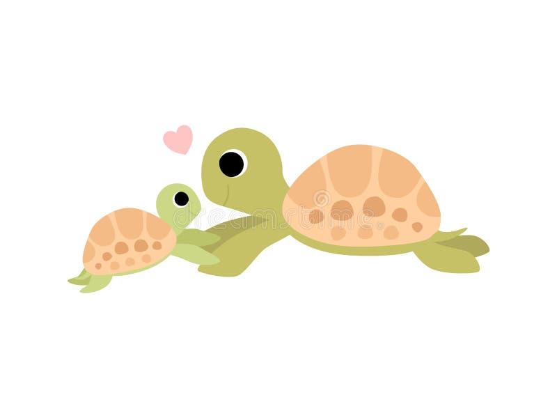 Modersköldpaddan och dess behandla som ett barn, den gulliga illustrationen för sköldpaddafamiljvektorn stock illustrationer