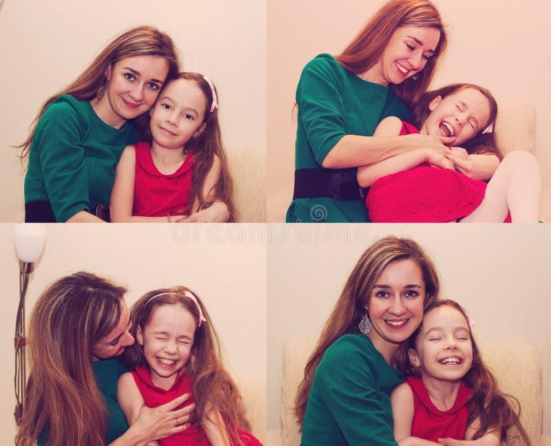 Moderskap är ren glädje Collage av härlig huggin för ung kvinna royaltyfria bilder