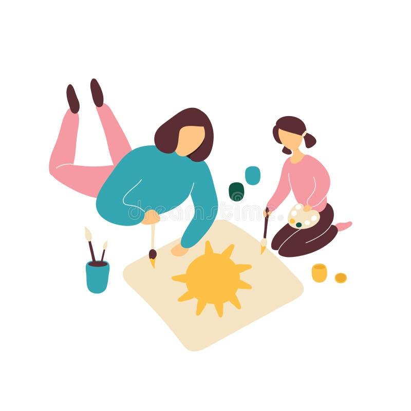 Moderteckning med dottern p? golv stock illustrationer