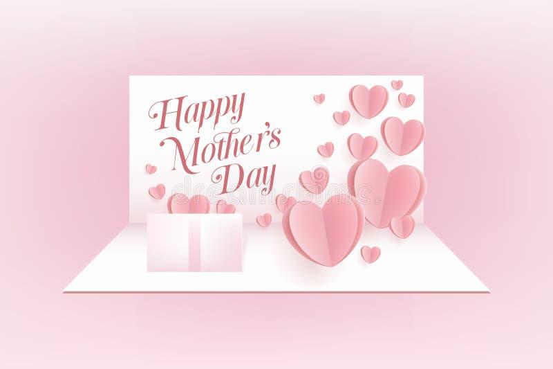 Modervykort på rosa bakgrund Symboler av förälskelse i form av hjärta för lyckligt kort för hälsning för dag för moder` s stock illustrationer