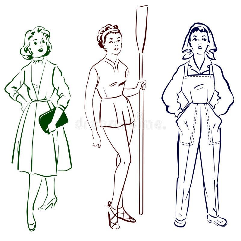 Modes de ouvrière de dame de vintage réglées illustration de vecteur