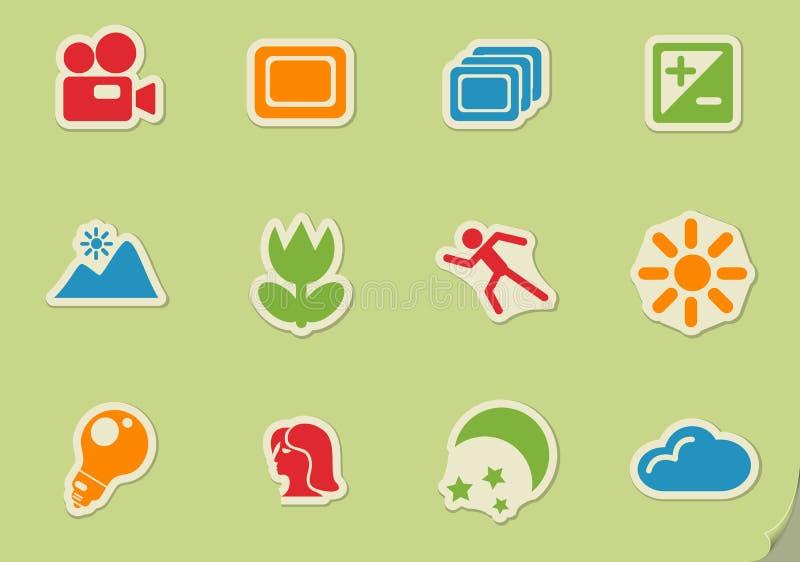 Modes des icônes de silhouette de photo illustration de vecteur