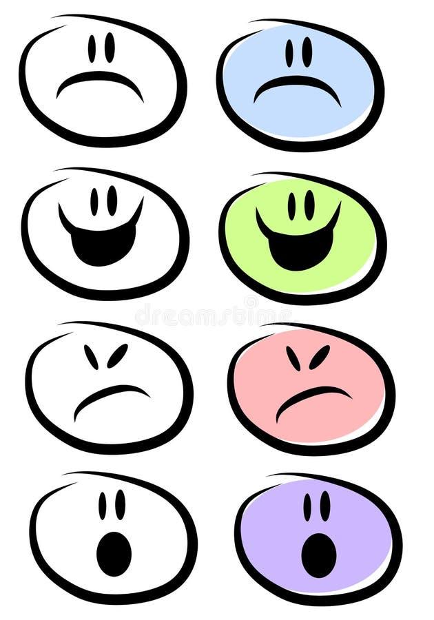 Modes et expressions faciaux illustration de vecteur