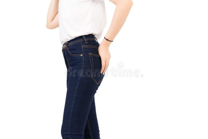 Modes maigres de pantalon de coton de blues-jean de denim images stock