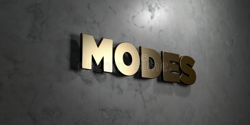 Modes - signe d'or monté sur le mur de marbre brillant - illustration courante gratuite de redevance rendue par 3D illustration libre de droits