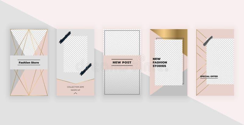 Modeschablonen für Instagram-Geschichten Moderner Abdeckungsentwurf für Social Media, Flieger, Karte lizenzfreie abbildung