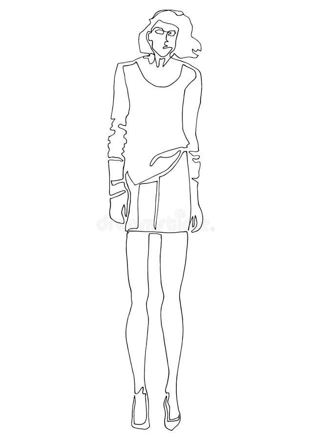 Modeschattenbildmodell in der Kunstart der einzelnen Zeile vektor abbildung