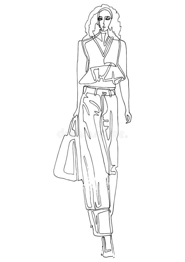 Modeschattenbildmodell in der Kunstart der einzelnen Zeile stock abbildung