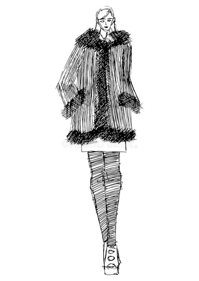 Modeschattenbildmodell in der Kunstart der einzelnen Zeile lizenzfreie abbildung