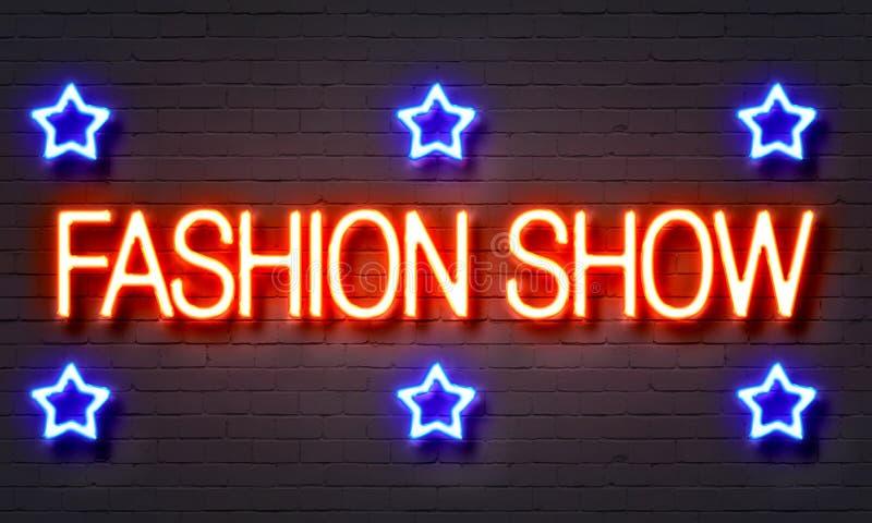 Modeshowneontecken stock illustrationer