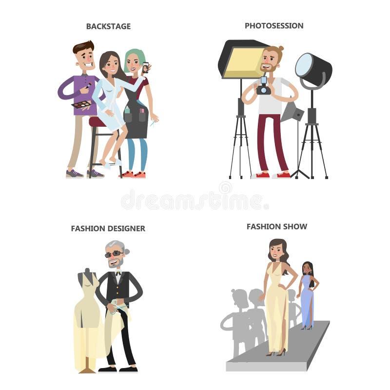 Modeshowuppsättning royaltyfri illustrationer