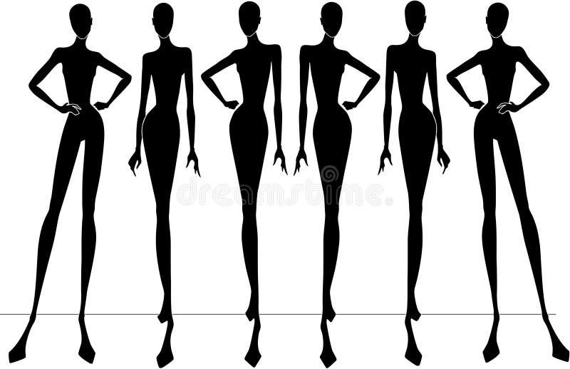 modesilhouettes royaltyfri illustrationer