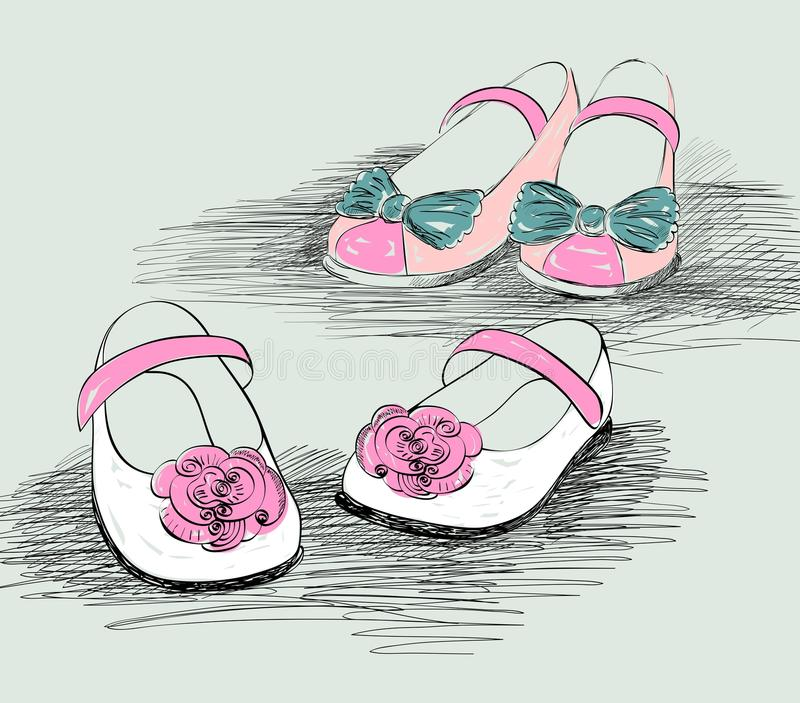 Modeskor stock illustrationer