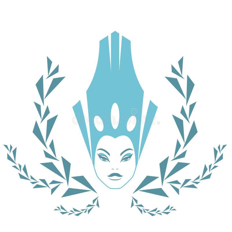 ModeSnowdrottning. Logokvinnaframsida i iskrona vektor illustrationer