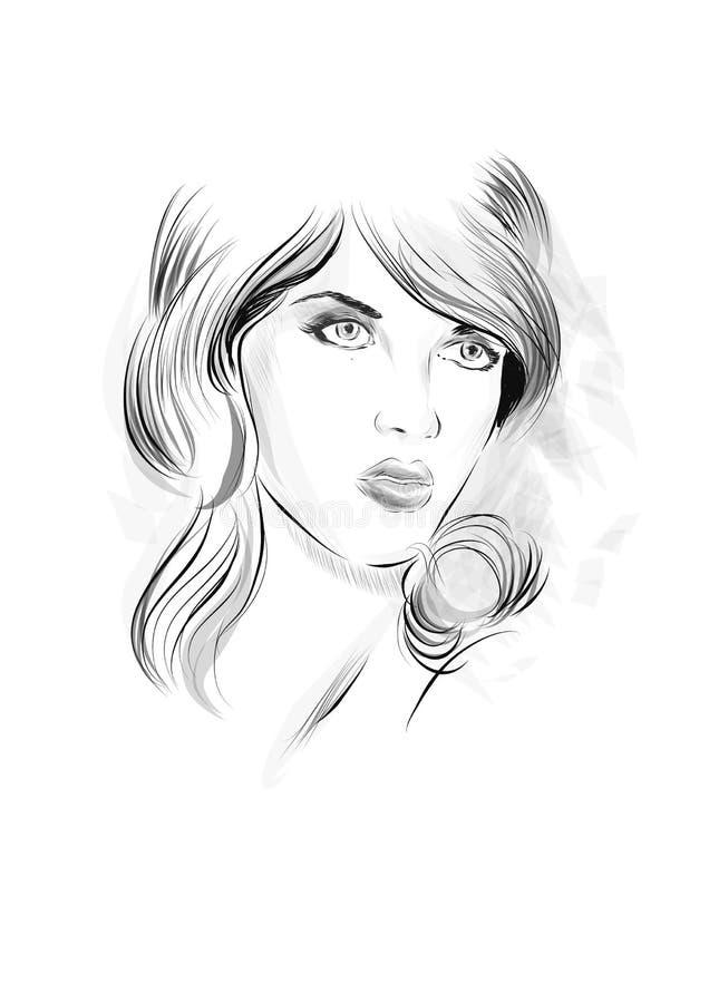 Modeståendeteckningen skissar Vektorillustration av en framsida för ung kvinna Hand dragen framsida för modemodell stock illustrationer
