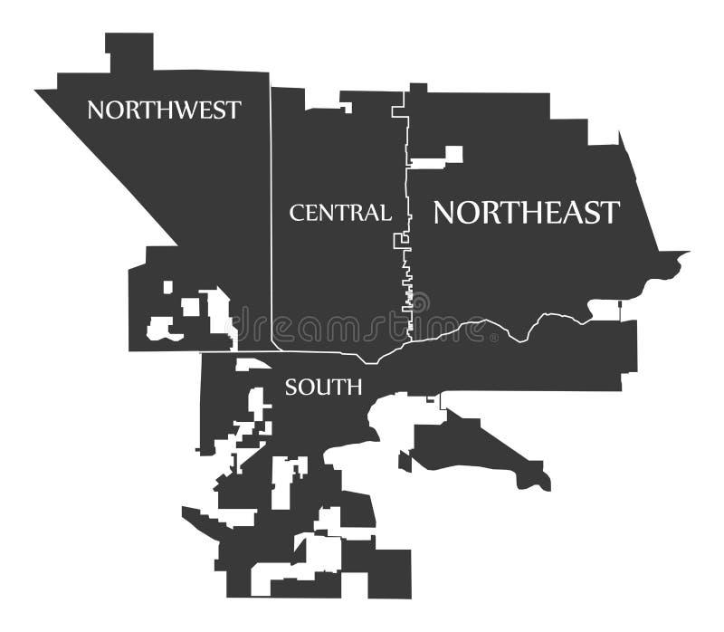 Modesto California City Map EUA etiquetou a ilustração preta ilustração royalty free
