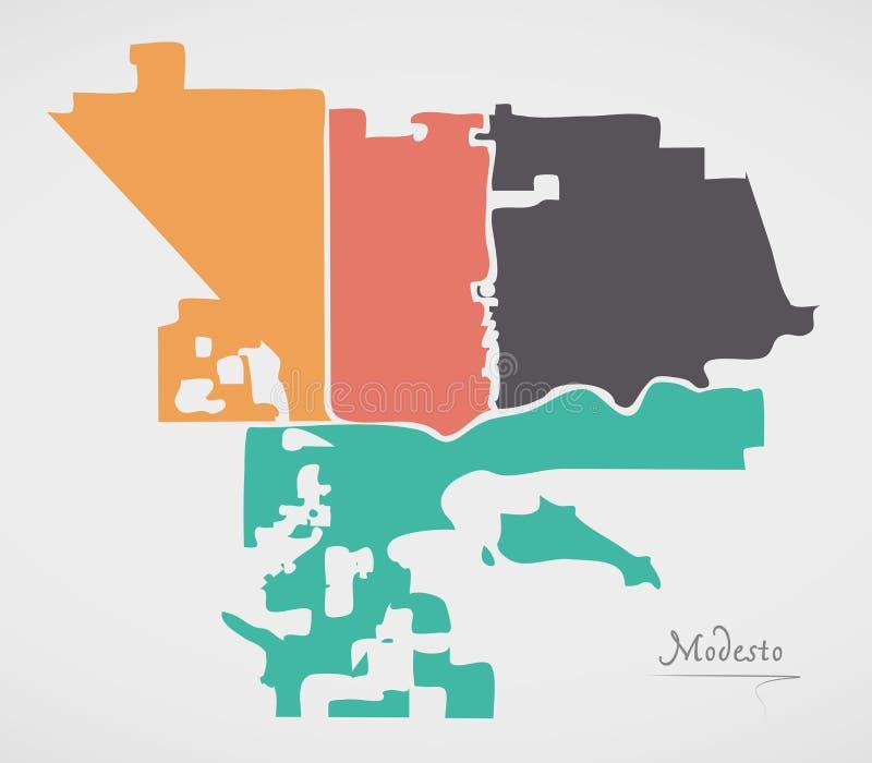 Modesto California Map com vizinhanças e formas redondas modernas ilustração do vetor