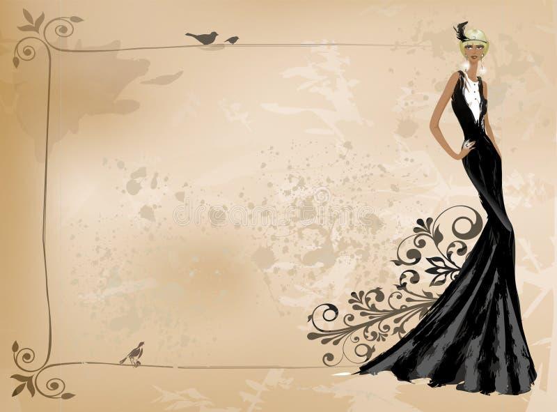 Modetappningflicka i svart klänning royaltyfri illustrationer