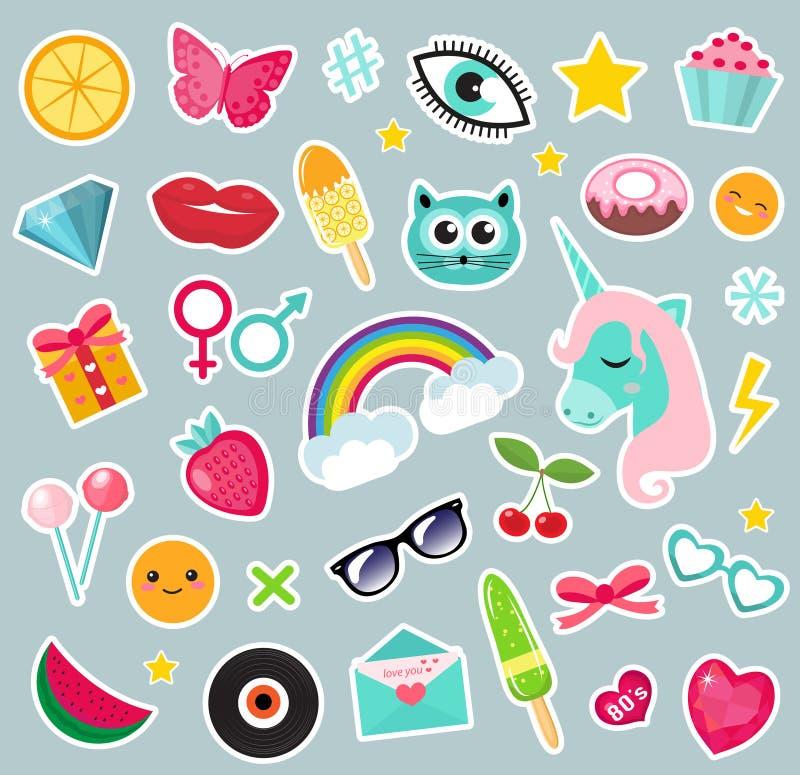 Modeuppsättning av komisk stil för lapp80-tal Ben, emblem och klistermärkesamlingstecknad film stock illustrationer