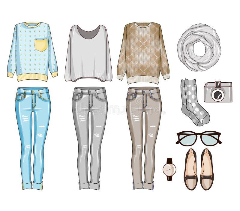 Modeuppsättning av kvinnas kläder, tillbehör och skor Tillfällig dräktgemkonst royaltyfri illustrationer
