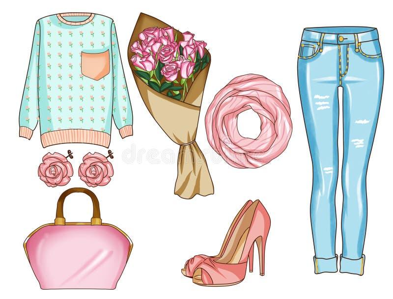 Modeuppsättning av kvinnas kläder, tillbehör och skor Tillfälliga dräkter i blå grov bomullstvill och rosa färger färgar stock illustrationer