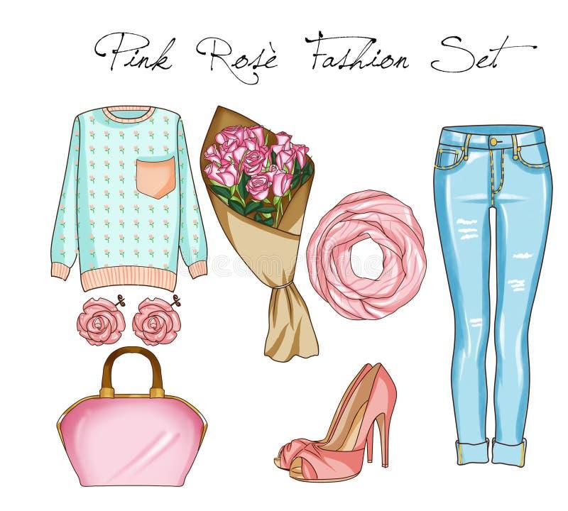 Modeuppsättning av kvinnas kläder, tillbehör och skor Tillfälliga dräkter i blå grov bomullstvill och rosa färger färgar vektor illustrationer