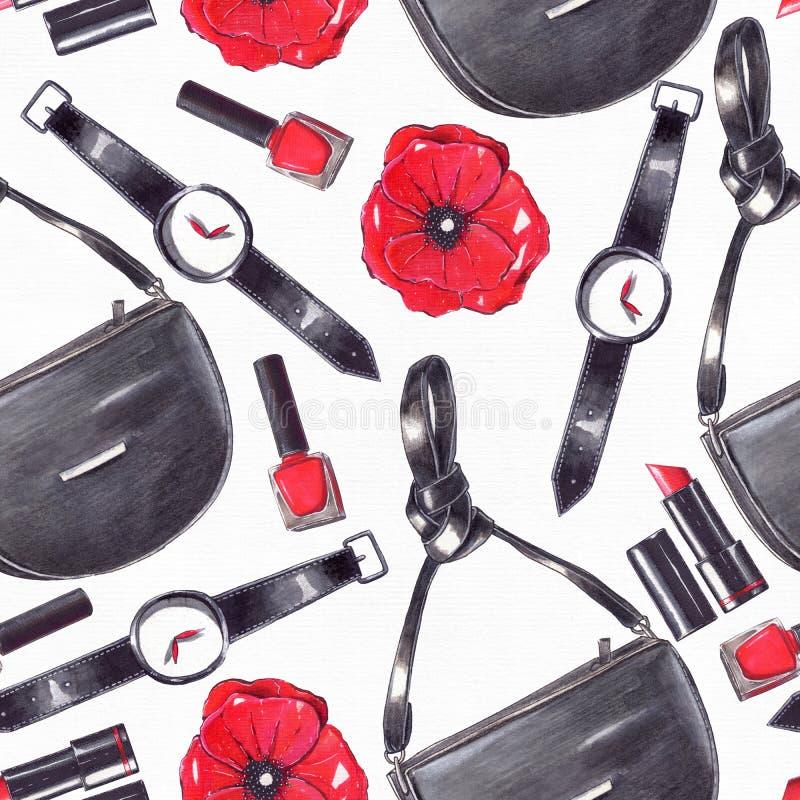 Modeuppsättninghanden som dras i ljusa färger med blyertspennor, och eyeliner i röda och svarta färger på den vita vattenfärgen s vektor illustrationer