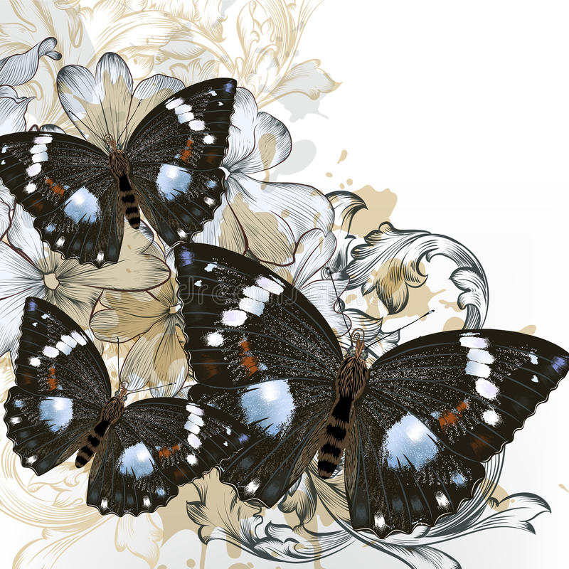 Modevektorbakgrund med fjärilar royaltyfri illustrationer