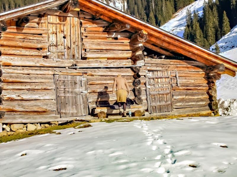 Modevinterkvinna som ejpying trähuset i snön av fjällängarna royaltyfri foto