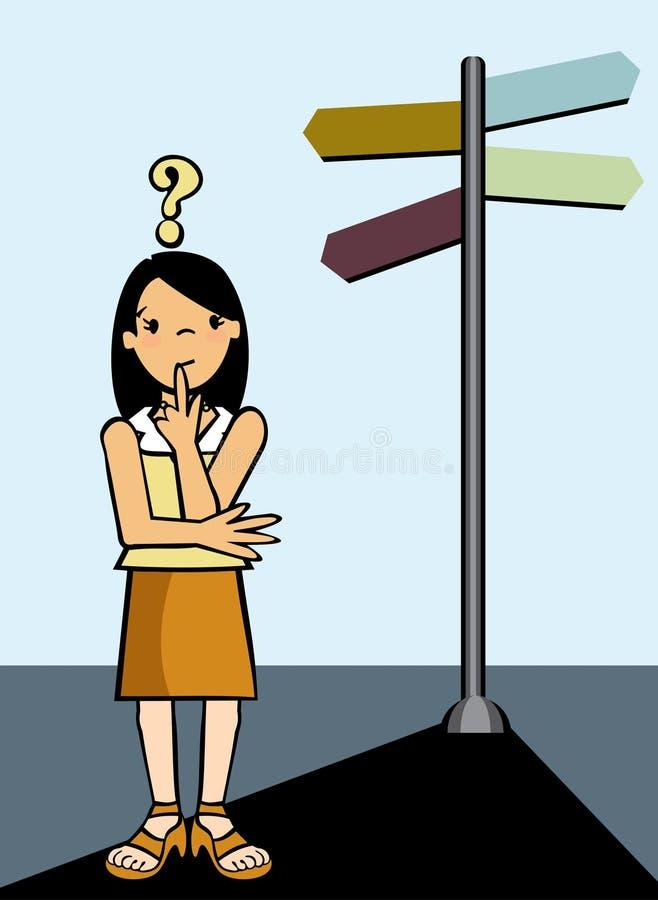 Modi di decisione della donna illustrazione vettoriale