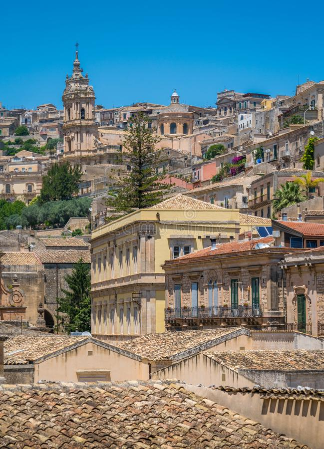 Scenic sight in Modica, famous baroque town in Sicily, southern Italy. royalty free stock photos