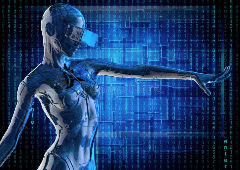 Modieus chromeplated cyborg de vrouw 3D Illustratie royalty-vrije illustratie