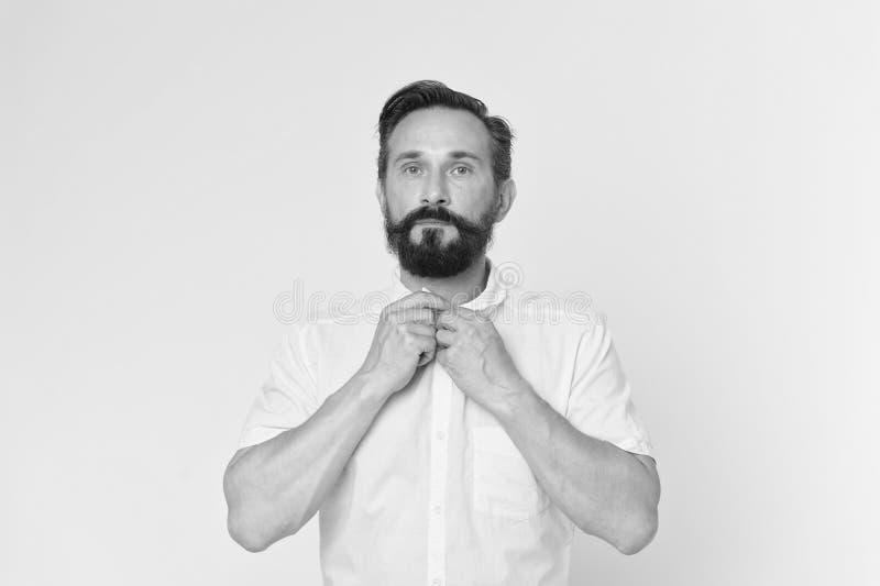 Modieus concept Modieuze mens met het gele overhemd van de baardknoop Modieus en gebaard Terloops modieus stock afbeelding
