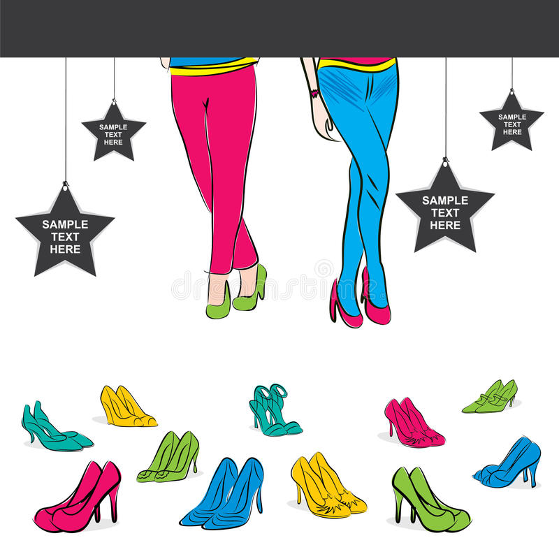 Modieus de bannerontwerp van de schoeiselverkoop vector illustratie