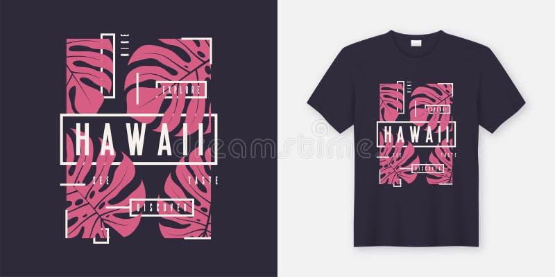 Modieus de t-shirt en de kledings modern ontwerp van Hawaï met tropisch l royalty-vrije illustratie