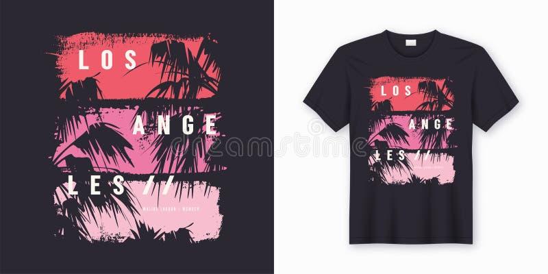 Modieus de t-shirt en de kledings in ontwerp van Los Angeles stock illustratie