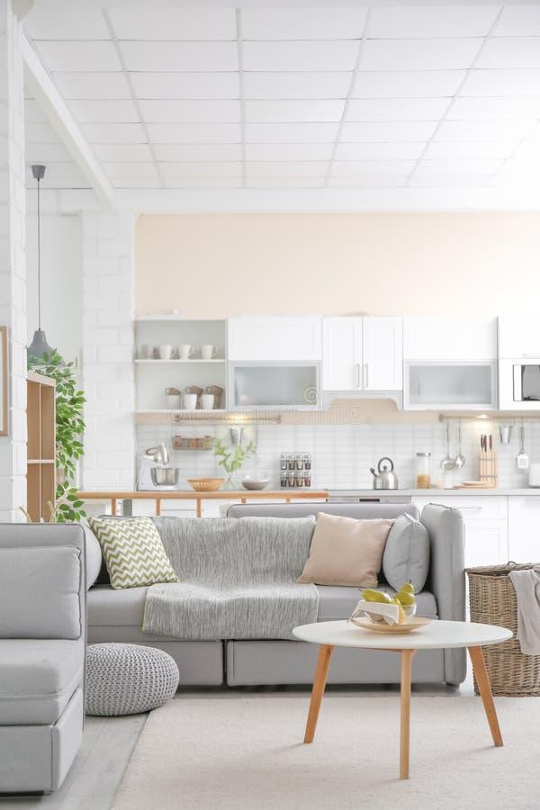 Modieus flatbinnenland met moderne keuken stock afbeeldingen