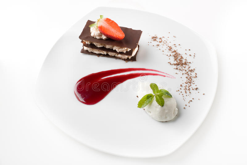 Modieus gastronomisch dessert royalty-vrije stock foto's