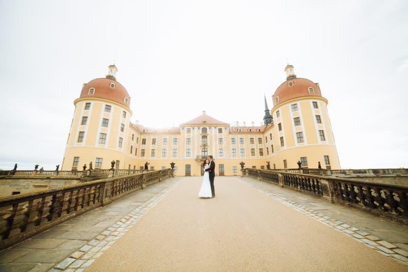 Modieus gelukkig huwelijkspaar op het achtergrond mooie renaissance oude kasteel Romantische jonggehuwdebruidegom en bruid stock afbeeldingen
