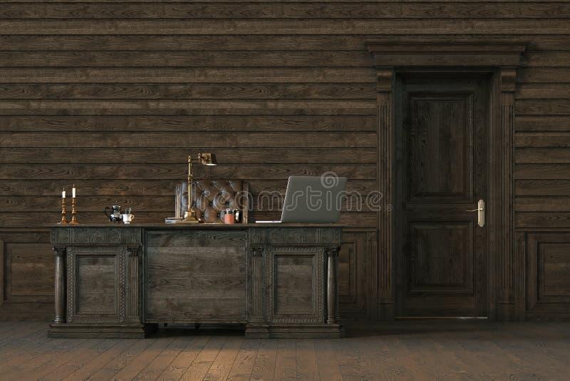 Modieus houten binnenlands bureau met gesloten deur 3d geef terug stock afbeeldingen