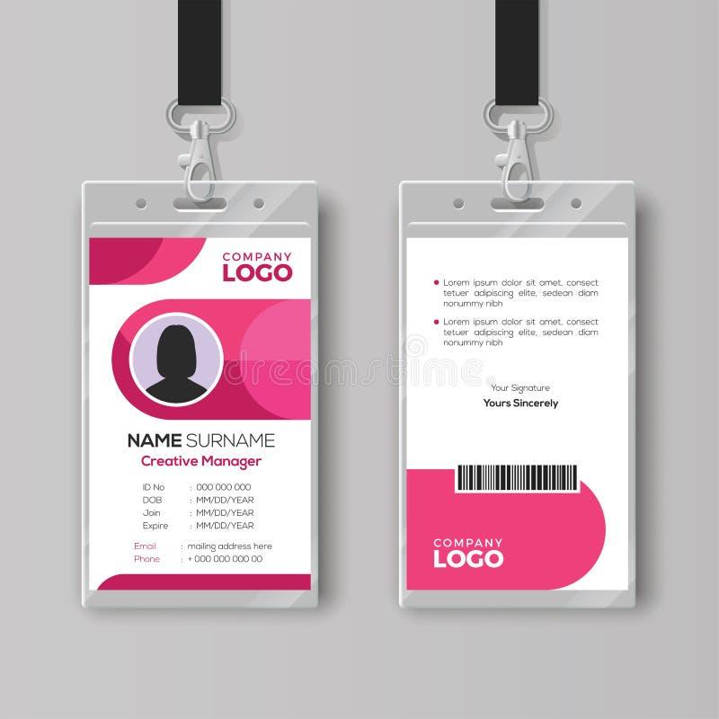 Modieus Identiteitskaartmalplaatje met roze details royalty-vrije illustratie